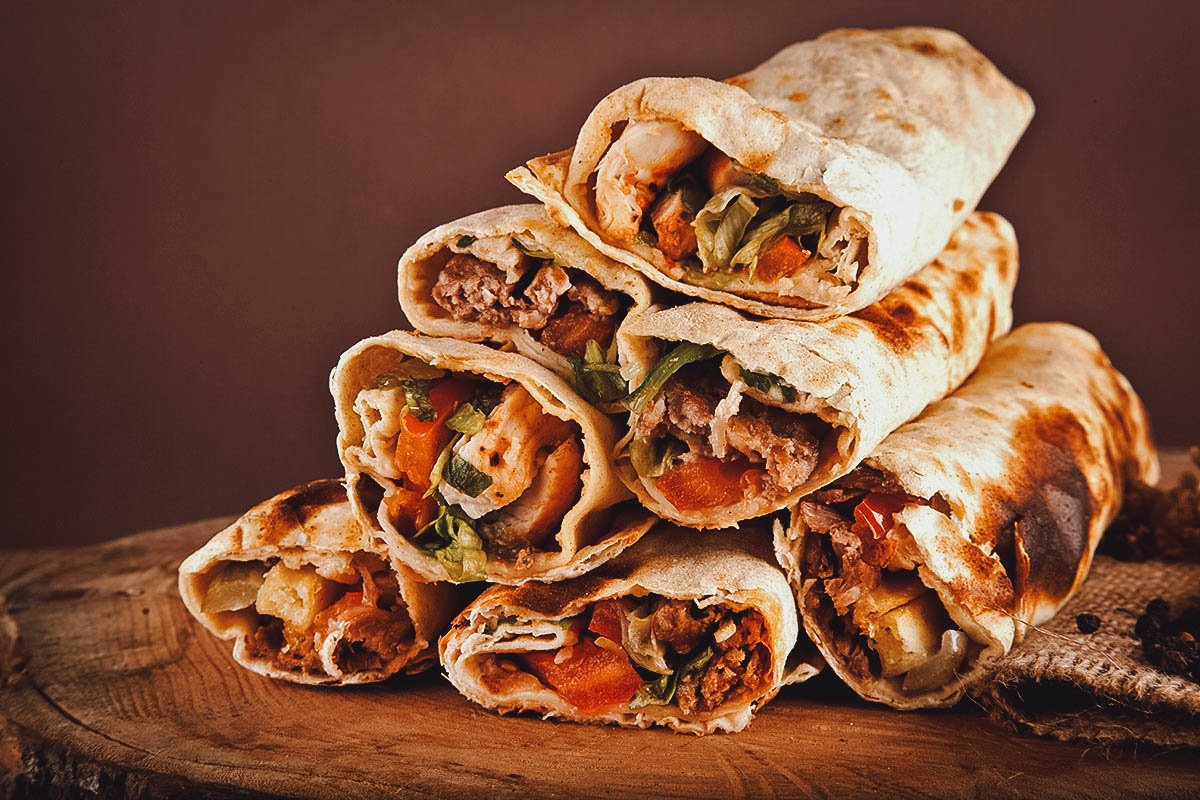Stack of Egyptian shawarma, a classic street food in Egypt