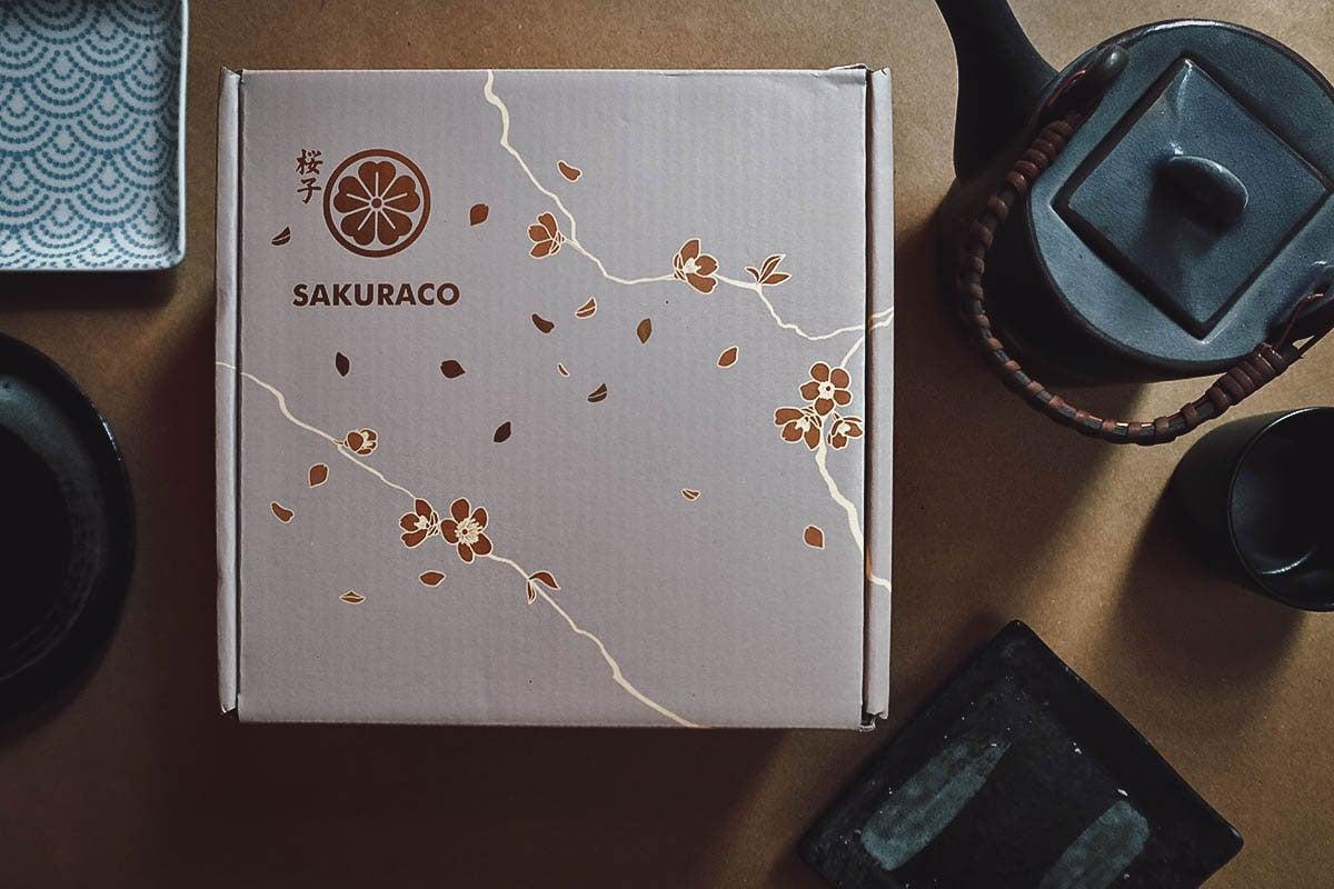 Sakuraco box with Japanese teapot and plates