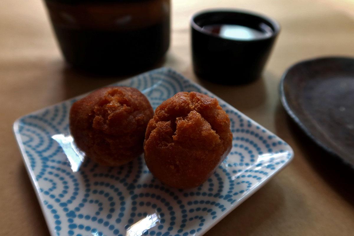 Sata andagi beni imo doughnuts with Japanese plates