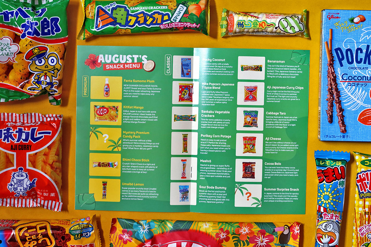 TokyoTreat booklet surrounded by snacks
