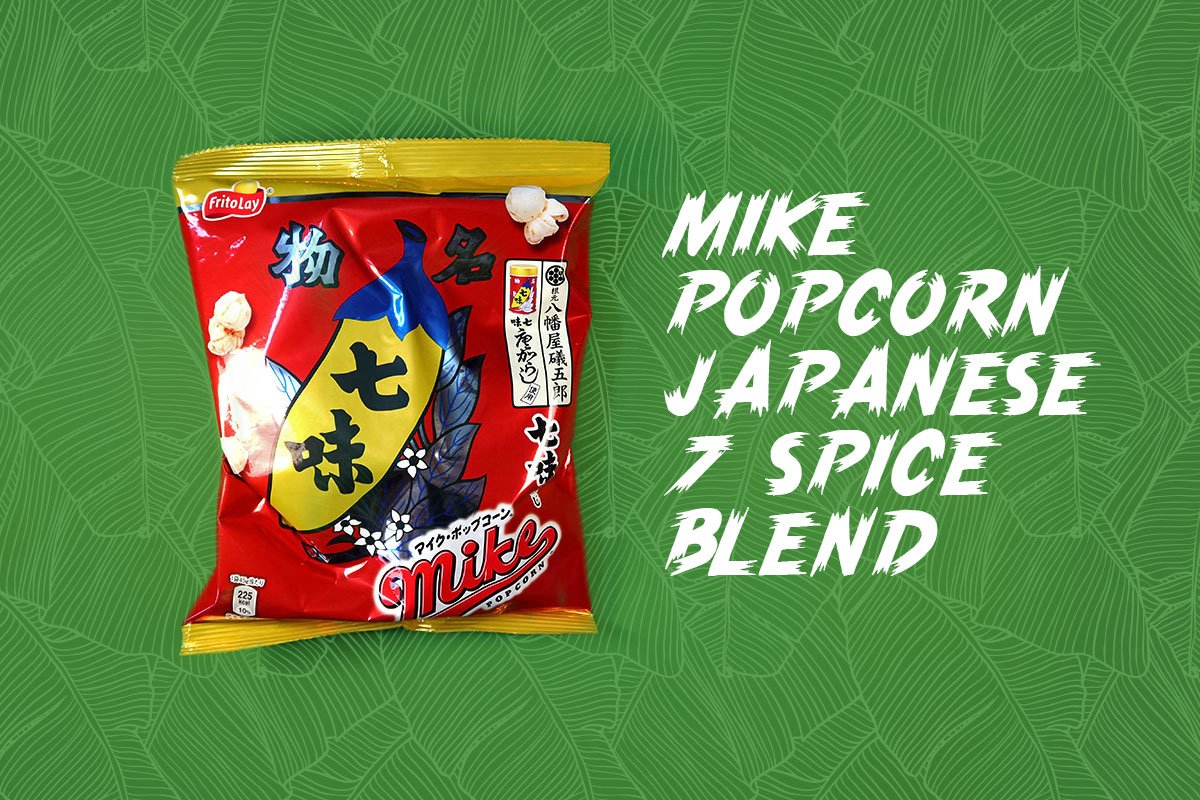 TokyoTreat box contents: Mike Popcorn Japanese 7 Spice Blend, a spicy Japanese snack
