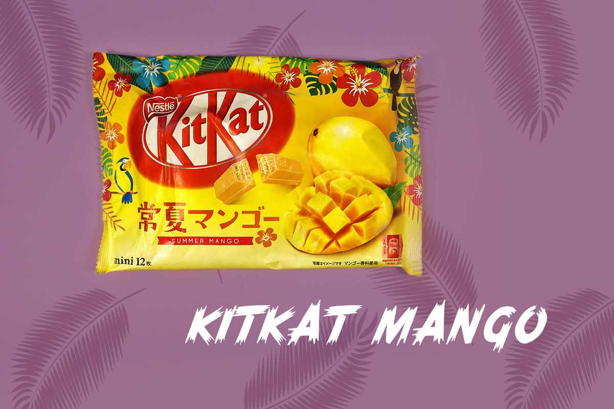 TokyoTreat box contents: Party pack with mango Kit Kats, an iconic Japanese candy