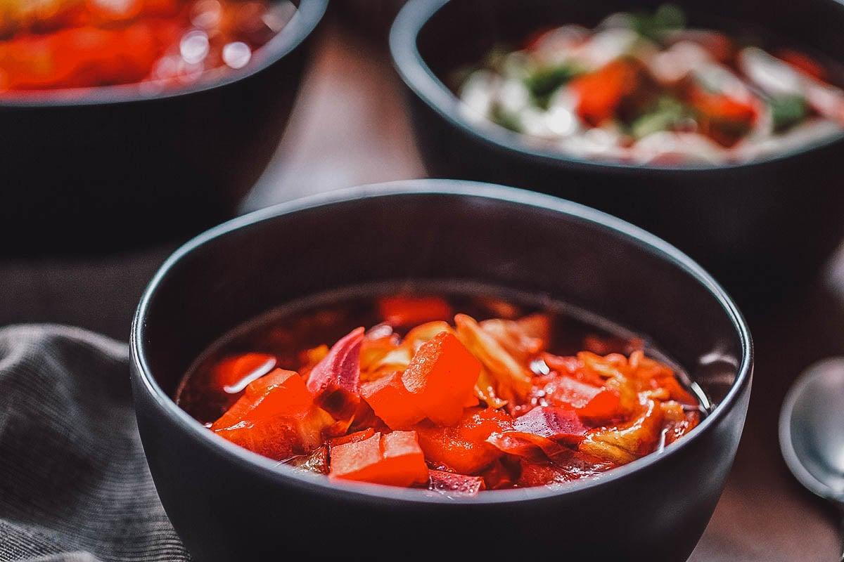 Bowls of borscht
