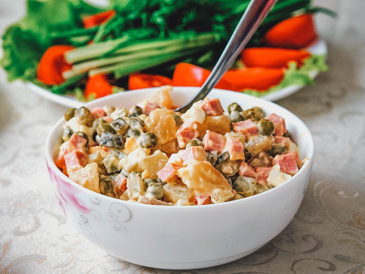 Bowl of olivier salad