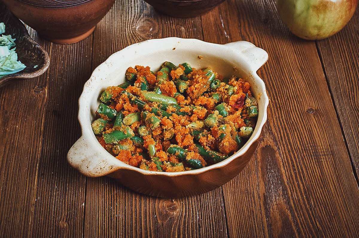 Absmalcane mahune, a Croatian side dish mad with green beans and  breadcrumbs