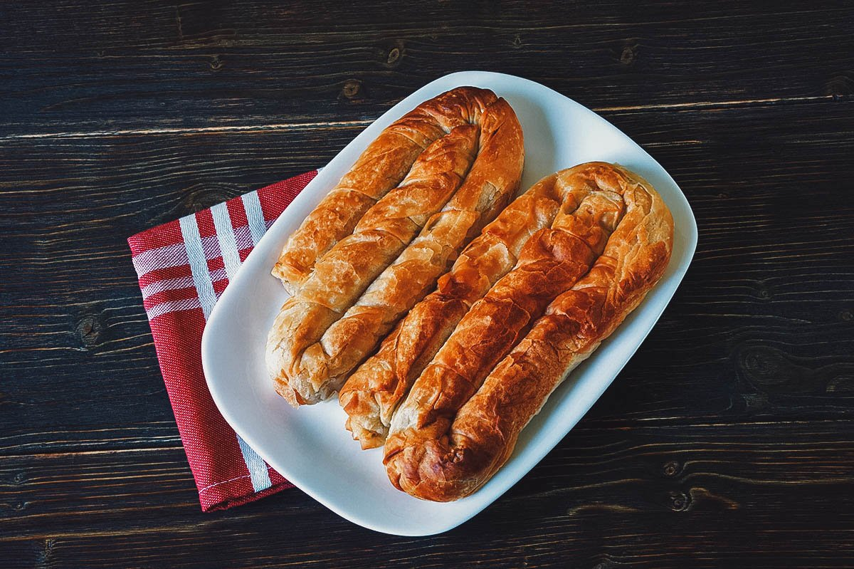 Burek, baked filled pastries made with filo pastry dough