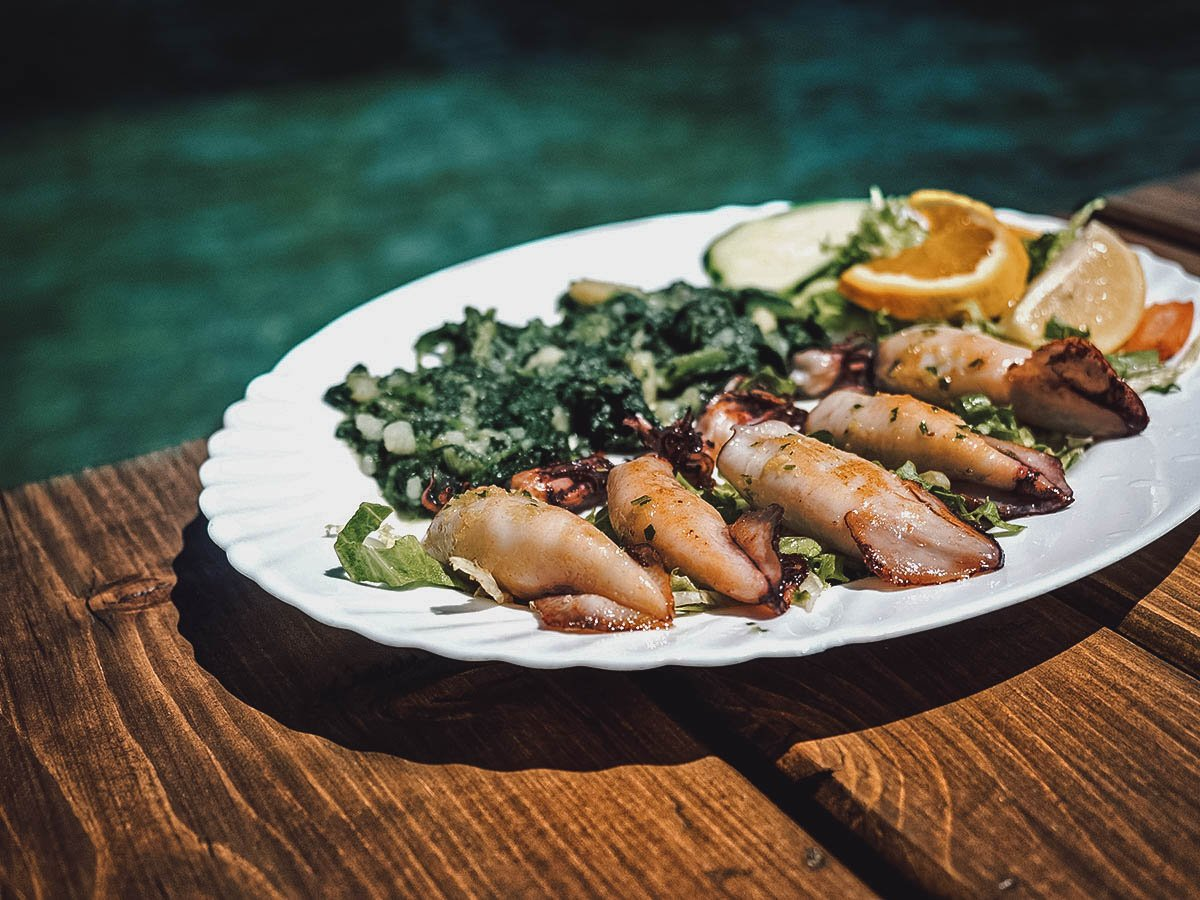Grilled Adriatic squid, typical Croatian food along the coast
