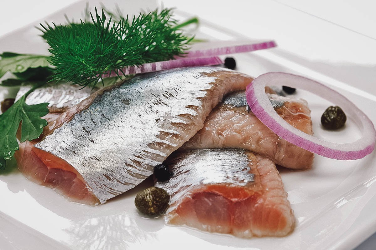 Pickled herring, one of the most commonly served fish dishes in Nordic countries