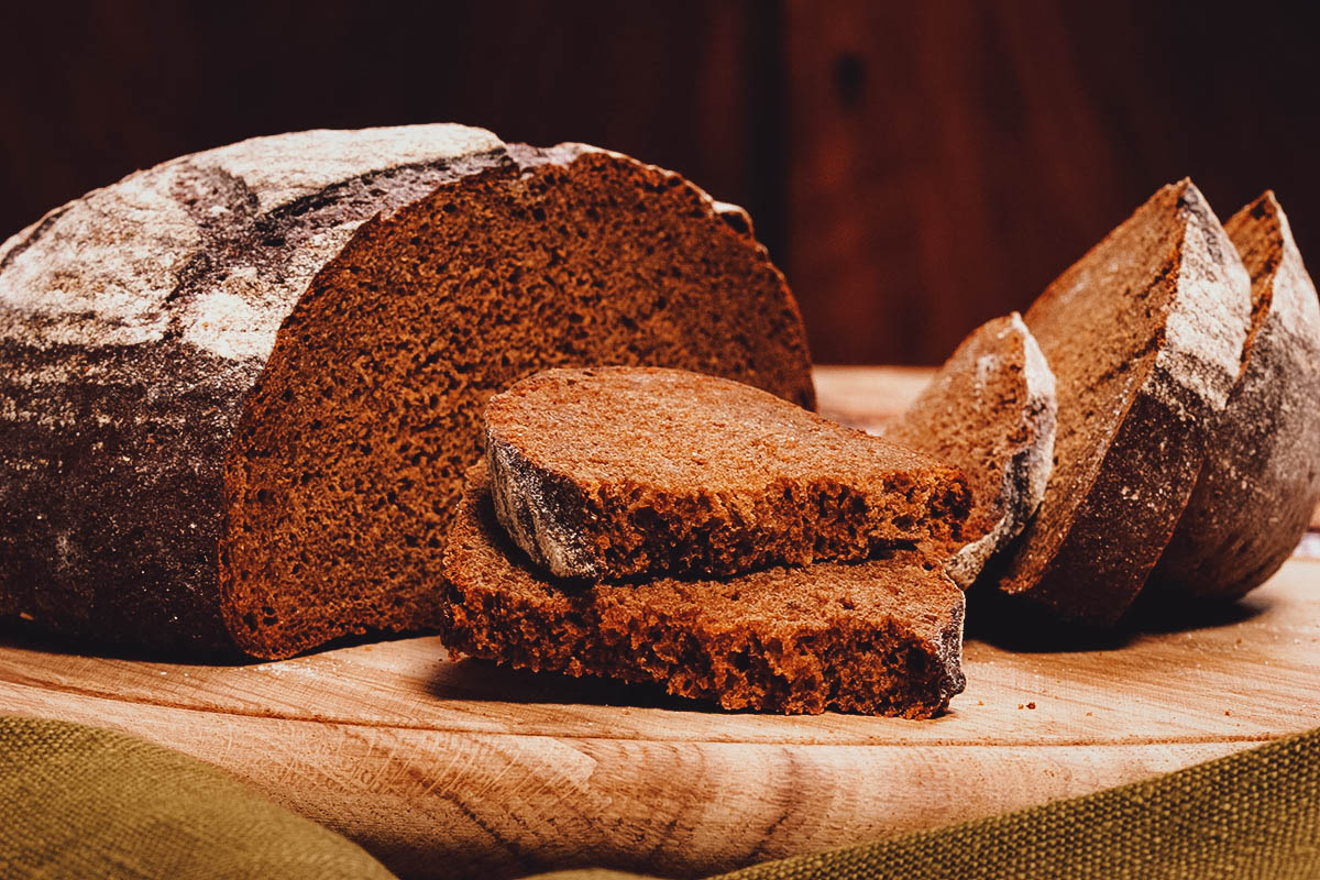 Rugbrød rye bread, one of the most important traditional dishes in Denmark
