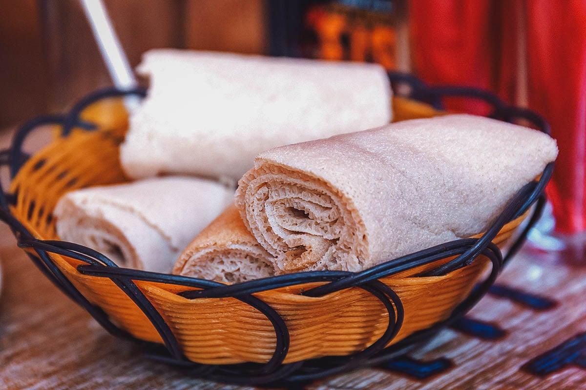 Basket of injera bread