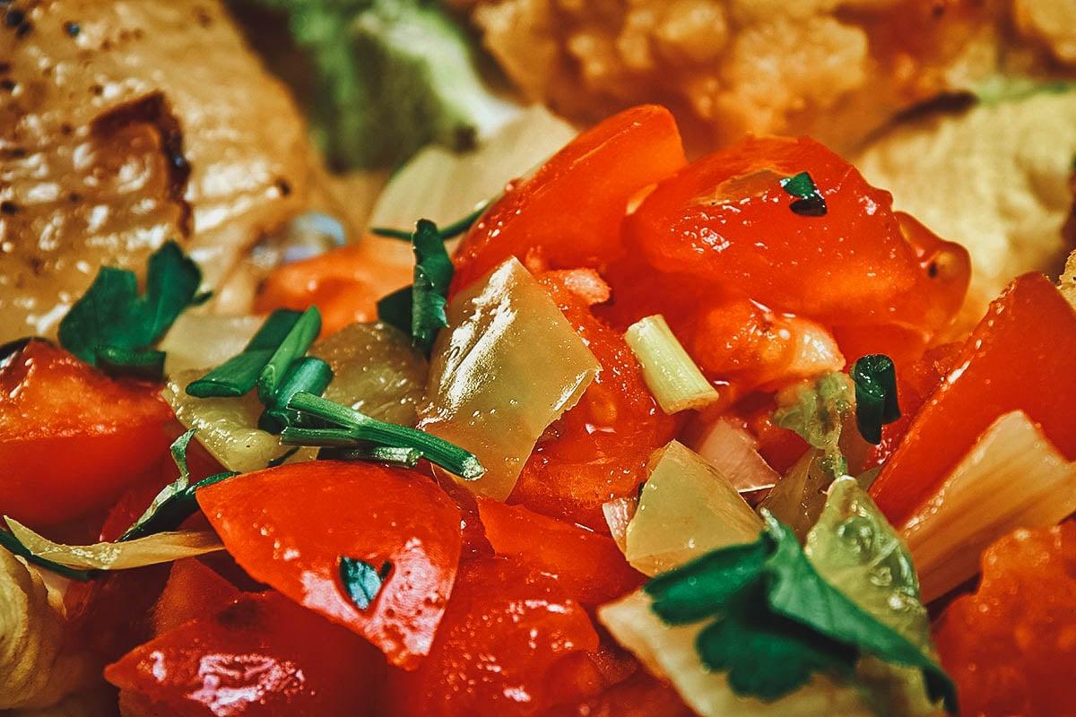 Close-up of timatim salata