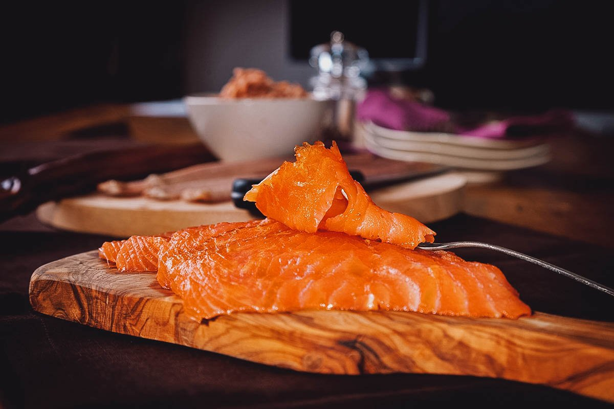 Cured or smoked salmon, one of the most popular traditional foods in Ireland