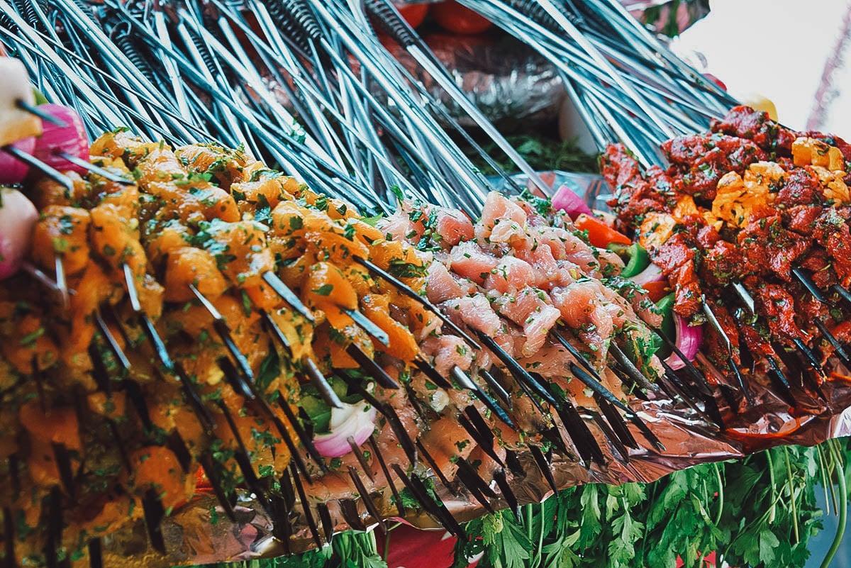 Kebabs at a market