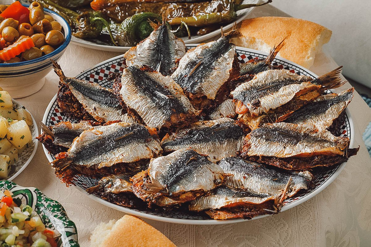 Stuffed fried sardines with chermoula