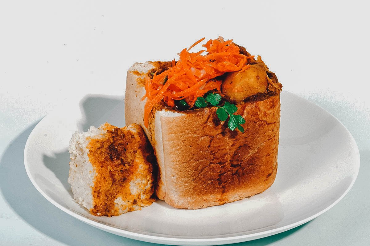 A quarter loaf of bunny chow, a popular street food in South Africa