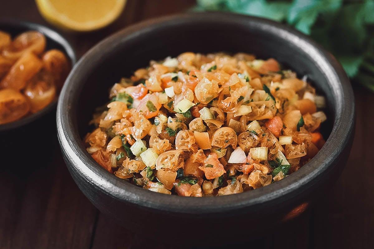 Pebre salsa with cochayuyo