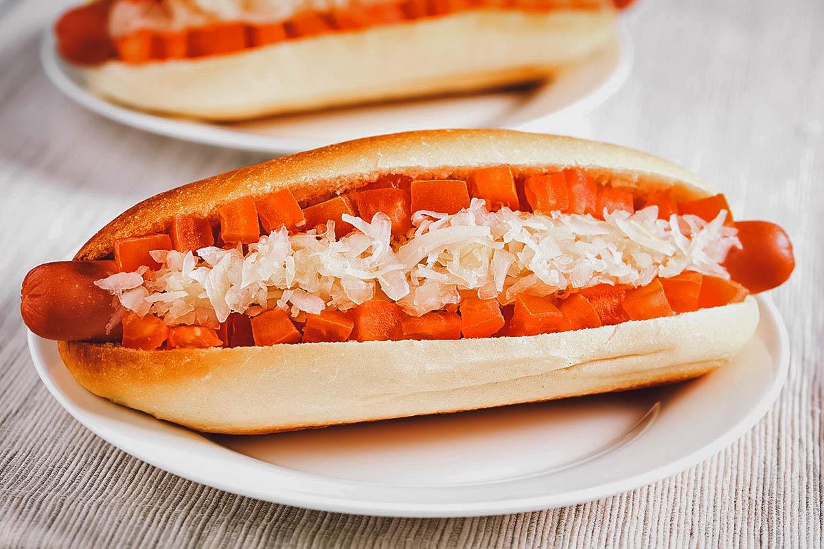 Completo clasico, the traditional version of the Chilean hotdog