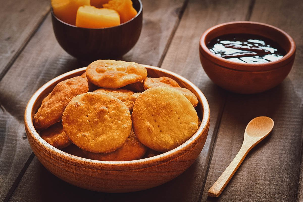 Sopaipilla, a type of fried Chilean pastry that can be eaten sweet with honey or jam, or savory with chili sauce